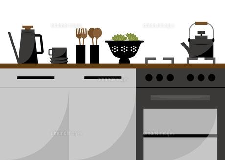 ガスオーブンのあるキッチンのイラストのイラスト素材 [FYI04821389]