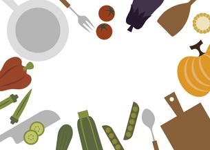 キッチン料理イメージイラストフレームのイラスト素材 [FYI04821392]