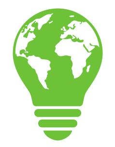 地球を描いた電球のマーク エコロジーイメージのイラスト素材 [FYI04821608]