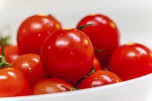 お皿に盛られた真っ赤なミニトマトの写真素材 [FYI04821679]