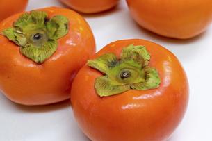 鮮やかなオレンジ色の柿の写真素材 [FYI04821683]