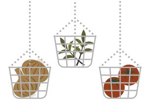 ワイヤーカゴに入った野菜のイラストのイラスト素材 [FYI04821982]