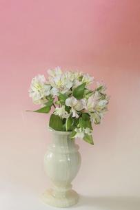 縞瑪瑙の花瓶に活けたアルストロメリアの花束の写真素材 [FYI04822285]