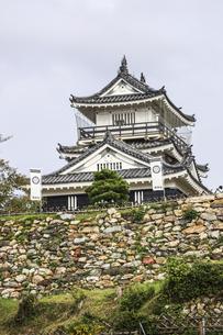 葵紋ののぼり旗が立つ浜松城天守と石垣の写真素材 [FYI04822828]