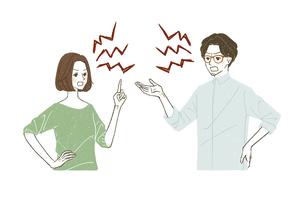 言い争いをしている男女のイラスト素材 [FYI04822990]