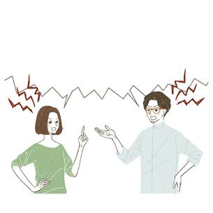 言い争いをしている男女のイラスト素材 [FYI04822992]