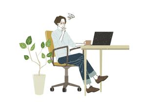 パソコンを使っている男性のイラスト素材 [FYI04823004]