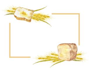パンと小麦のフレームのイラスト素材 [FYI04823065]