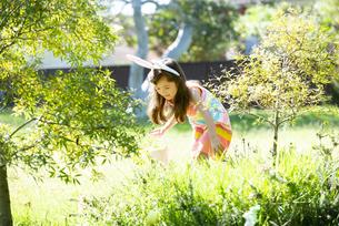 イースターのエッグハントをしている女の子の写真素材 [FYI04823338]