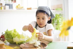 エプロン姿でサンドイッチを作っている女の子の写真素材 [FYI04823858]