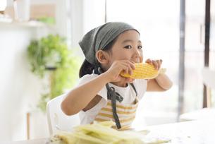 とうもろこしを食べている女の子の写真素材 [FYI04823868]