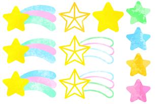 流れ星と星のバリエーションのイラスト素材 [FYI04824002]