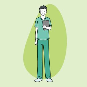 カルテを持つ、若い男性の医師のイラスト素材 [FYI04824486]