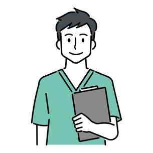 カルテを持つ、若い男性の医師のイラスト素材 [FYI04824487]