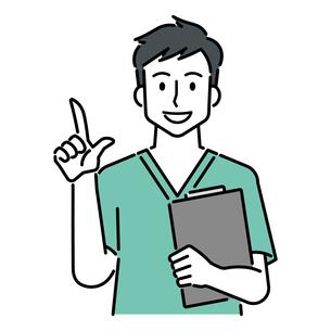 カルテを持ち、人差し指を立てる、若い男性の医師のイラスト素材 [FYI04824830]