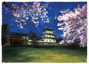 幻想的にライトアップされた桜と松前城のイラスト素材 [FYI04825166]