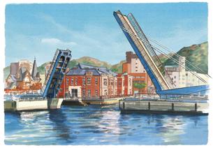 人のご縁を繋ぐはね橋ブルーウィングもじと門司港レトロのイラスト素材 [FYI04825167]