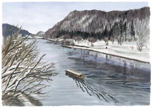 雪景色を眺めながら最上川沿いをゆく最上峡芭蕉ライン舟下りのイラスト素材 [FYI04825168]
