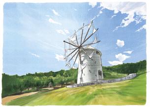 小高い丘に立つギリシャ風車に惹かれる小豆島オリーブ公園のイラスト素材 [FYI04825171]