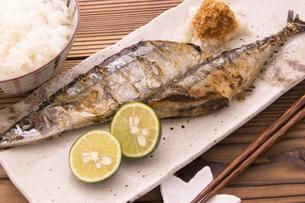秋刀魚の塩焼きの写真素材 [FYI04825335]