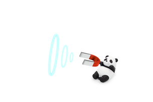 磁石で客を惹きつける客寄せパンダのミニチュア の写真素材 [FYI04826083]