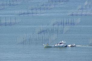 有明海塩屋漁港の海苔網の写真素材 [FYI04826089]