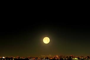 都心の灯りと西に沈む満月の写真素材 [FYI04826405]