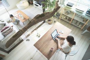 テレワークイメージ・リビングルームで仕事をする女性と遊ぶ子どもの写真素材 [FYI04826458]