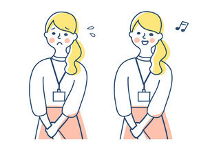 Dカードホルダーを胸に下げた女性 2表情のイラスト素材 [FYI04826679]