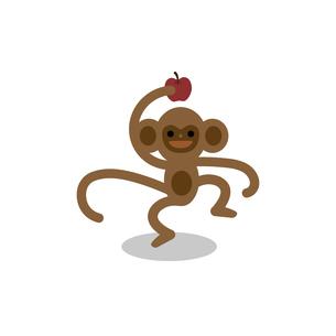 リンゴを持って嬉しそうなサルのイラスト素材 [FYI04826881]