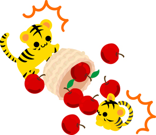 りんごいっぱいの籠をひっくり返した可愛い虎ちゃん達のイラストのイラスト素材 [FYI04827110]