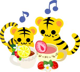 レモンティーとストロベリーティーを飲む可愛い虎ちゃん達のイラストのイラスト素材 [FYI04827119]