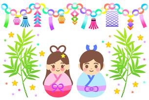 カラフルな七夕飾りのイラストのイラスト素材 [FYI04827879]