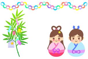 笹飾りや織姫と彦星のイラスト【七夕祭り】のイラスト素材 [FYI04827881]