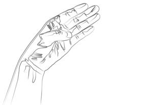 左手のシンプルな線画のイラスト素材 [FYI04827886]