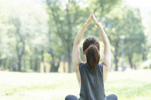公園でヨガ・ストレッチをする女性の後ろ姿の写真素材 [FYI04827904]