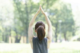 公園でヨガ・ストレッチをする女性の後ろ姿の写真素材 [FYI04827905]