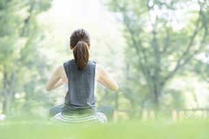 公園でヨガ・ストレッチをする女性の後ろ姿の写真素材 [FYI04827912]