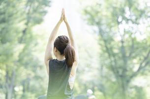 公園でヨガ・ストレッチをする女性の後ろ姿の写真素材 [FYI04827914]
