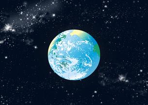 銀河が広がる宇宙空間の青い地球のイラスト素材 [FYI04827993]