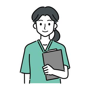カルテを持つ、若い女性の医師のイラスト素材 [FYI04828043]