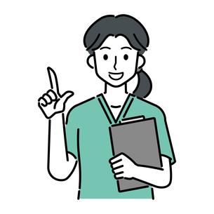 カルテを持ち、人差し指を立てる、若い女性の医師のイラスト素材 [FYI04828044]