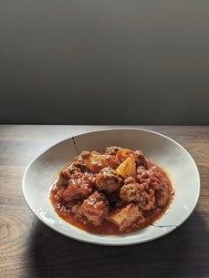 大根とミートボールのトマト煮の写真素材 [FYI04828380]