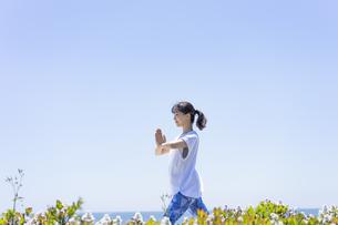 海辺でヨガをする女性の写真素材 [FYI04828601]