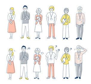 ビジネスパーソン 男女6人全身 2表情 セットのイラスト素材 [FYI04828865]
