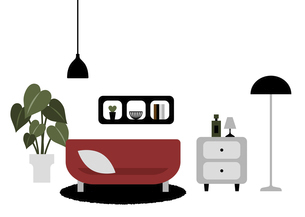赤いソファーのあるリビングルームのイラストのイラスト素材 [FYI04828872]