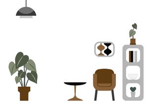 肘掛け椅子と棚のイラストのイラスト素材 [FYI04828873]