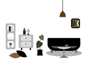 黒いソファーと棚とチェストのイラストのイラスト素材 [FYI04828962]