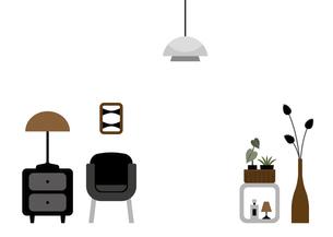 アームチェアとチェストと照明のイラストのイラスト素材 [FYI04828963]