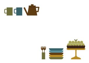 タルトとコーヒーのフレームイラストのイラスト素材 [FYI04829024]